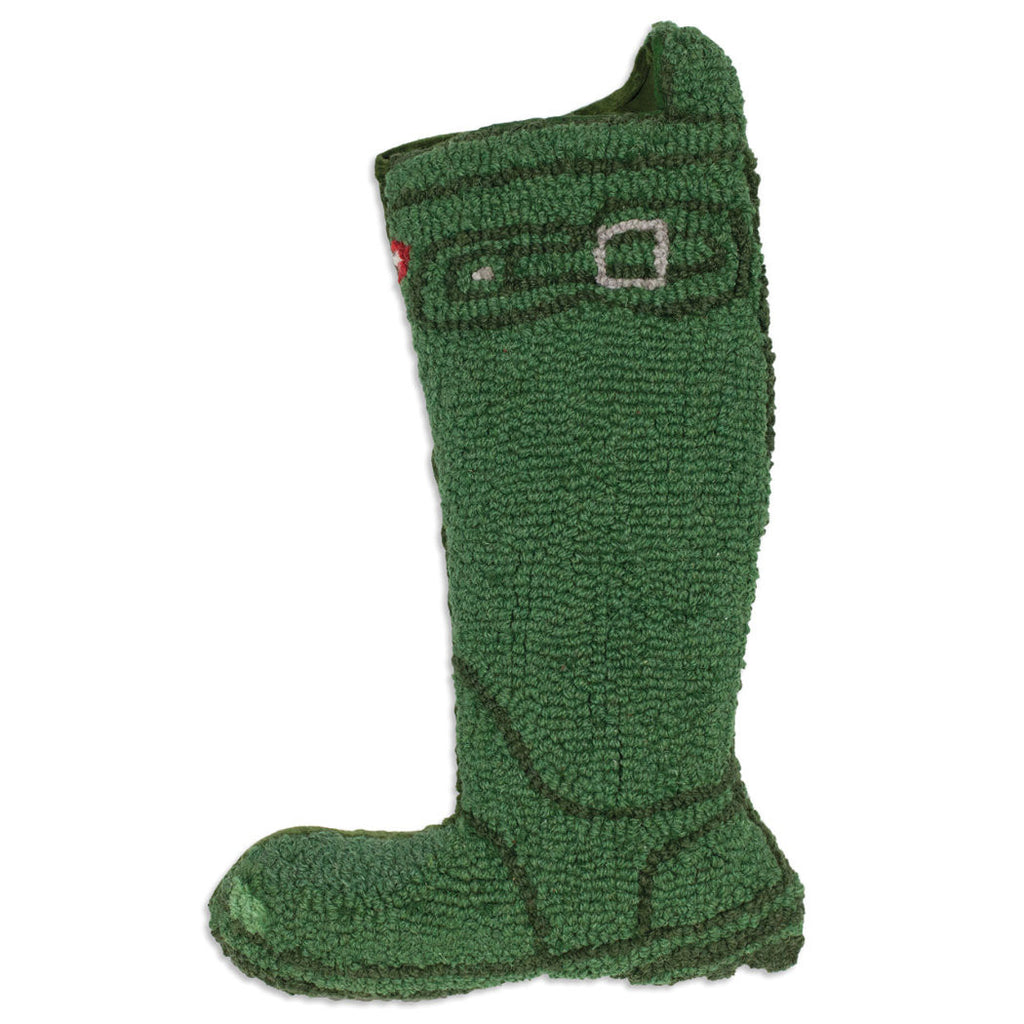 Green Wellie Boot Christmas Stocking