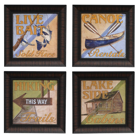 Cabin Signs Framed Set of 4