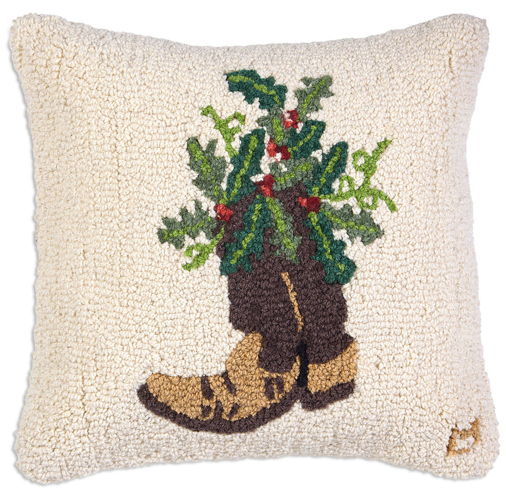 Holly Cowboy Boot Hooked Wool Pillow 18""