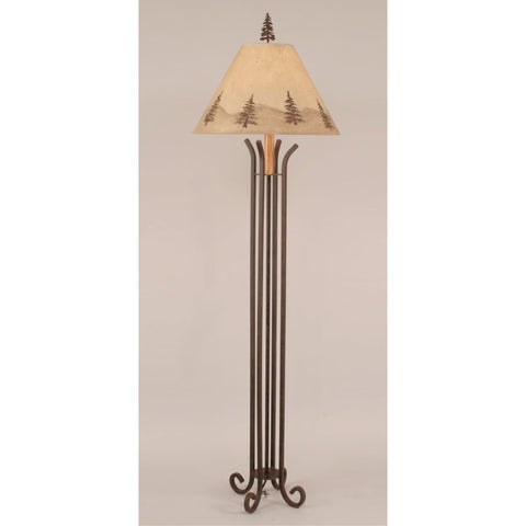 Iron 4 Leg Pine Tree Floor Lamp