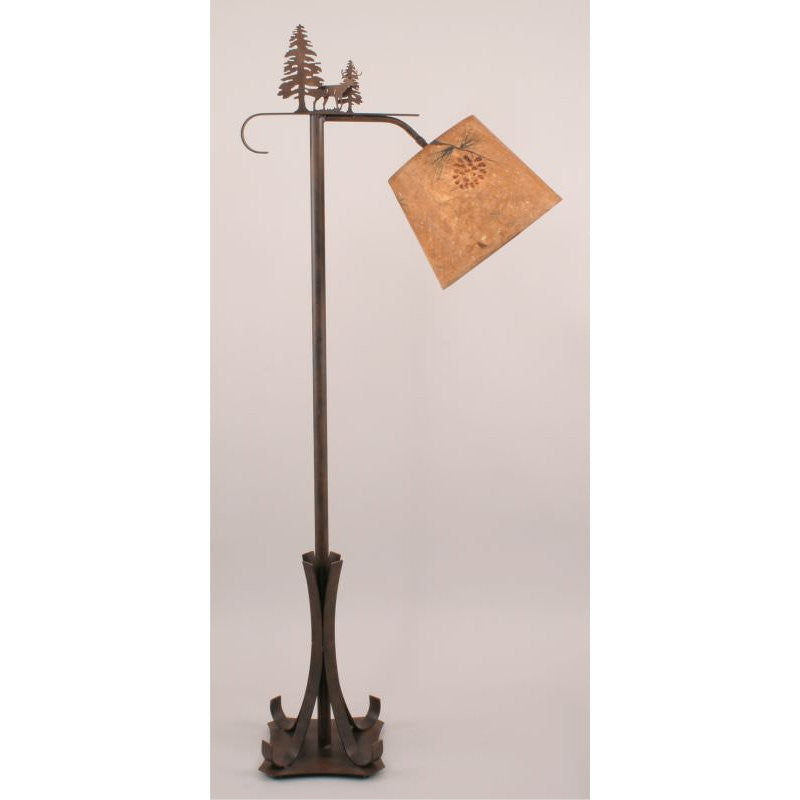 Deer Pine Tree Bridge Floor Lamp