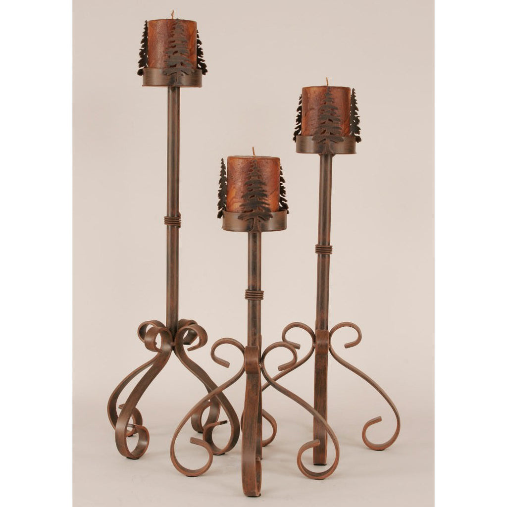 Iron S Leg Pine Tree Candle Holder Set