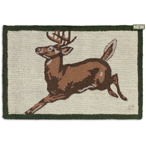Leaping Deer 2' x 3' Hooked Wool Rug