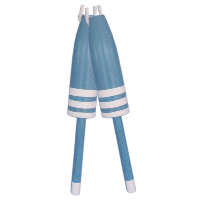 "Wooden Light Blue Decorative Buoy Pair 20""H"