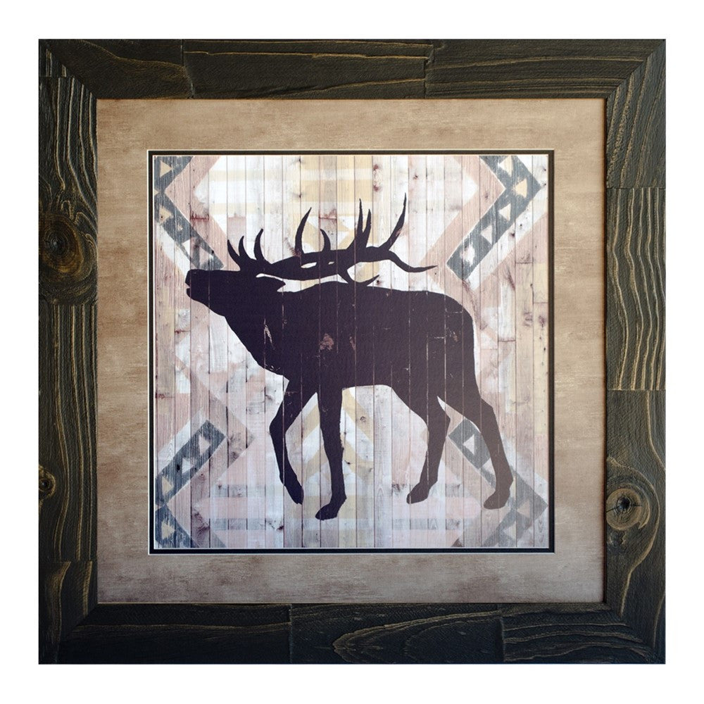 Lodge Animals Elk Framed Print