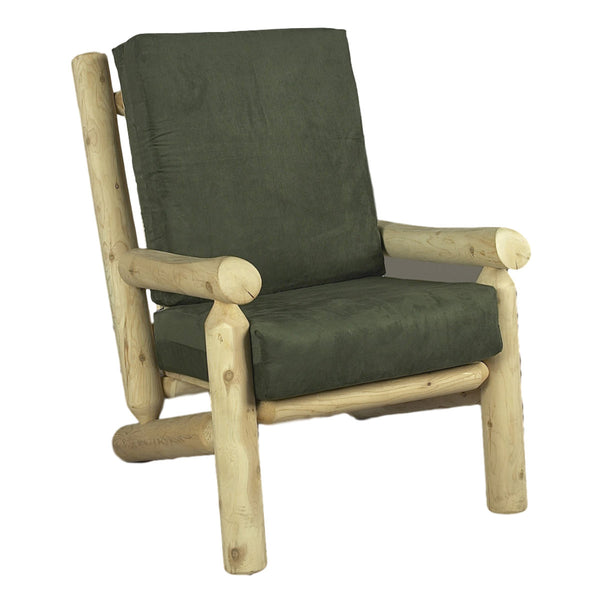 White Cedar Log Arm Chair with Cushions