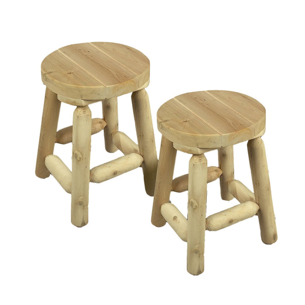 "18"" White Cedar Log Bar Stool Pair"