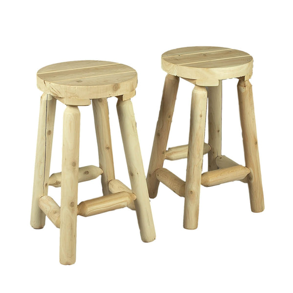 "24"" White Cedar Log Bar Stool Pair"