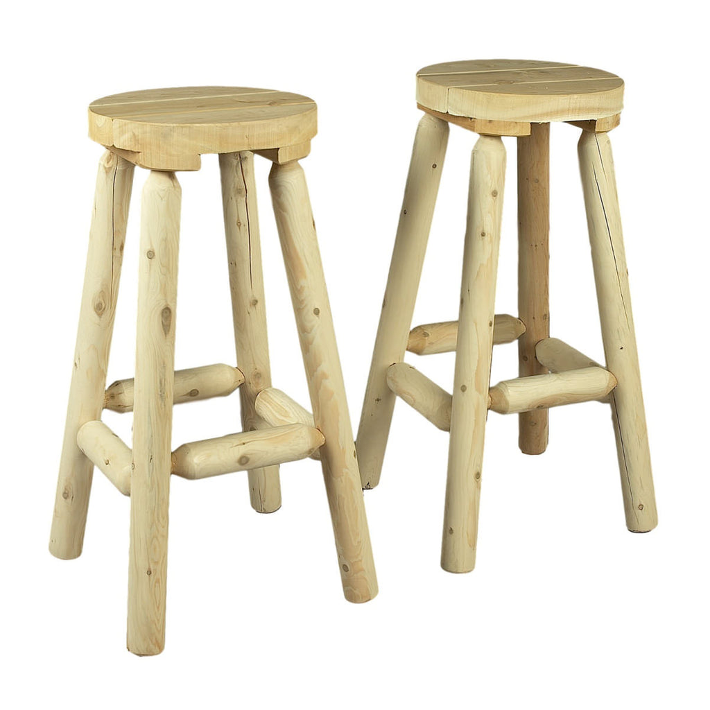 "30"" White Cedar Log Bar Stool Pair"