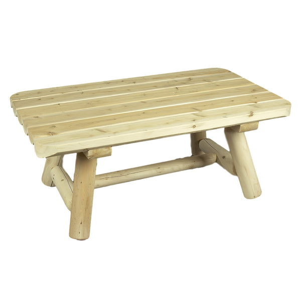 White Cedar Rectangle Log Coffee Table