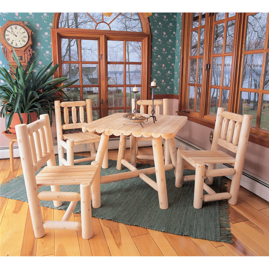 White Cedar 5 Pc Square Log Dining Table Set