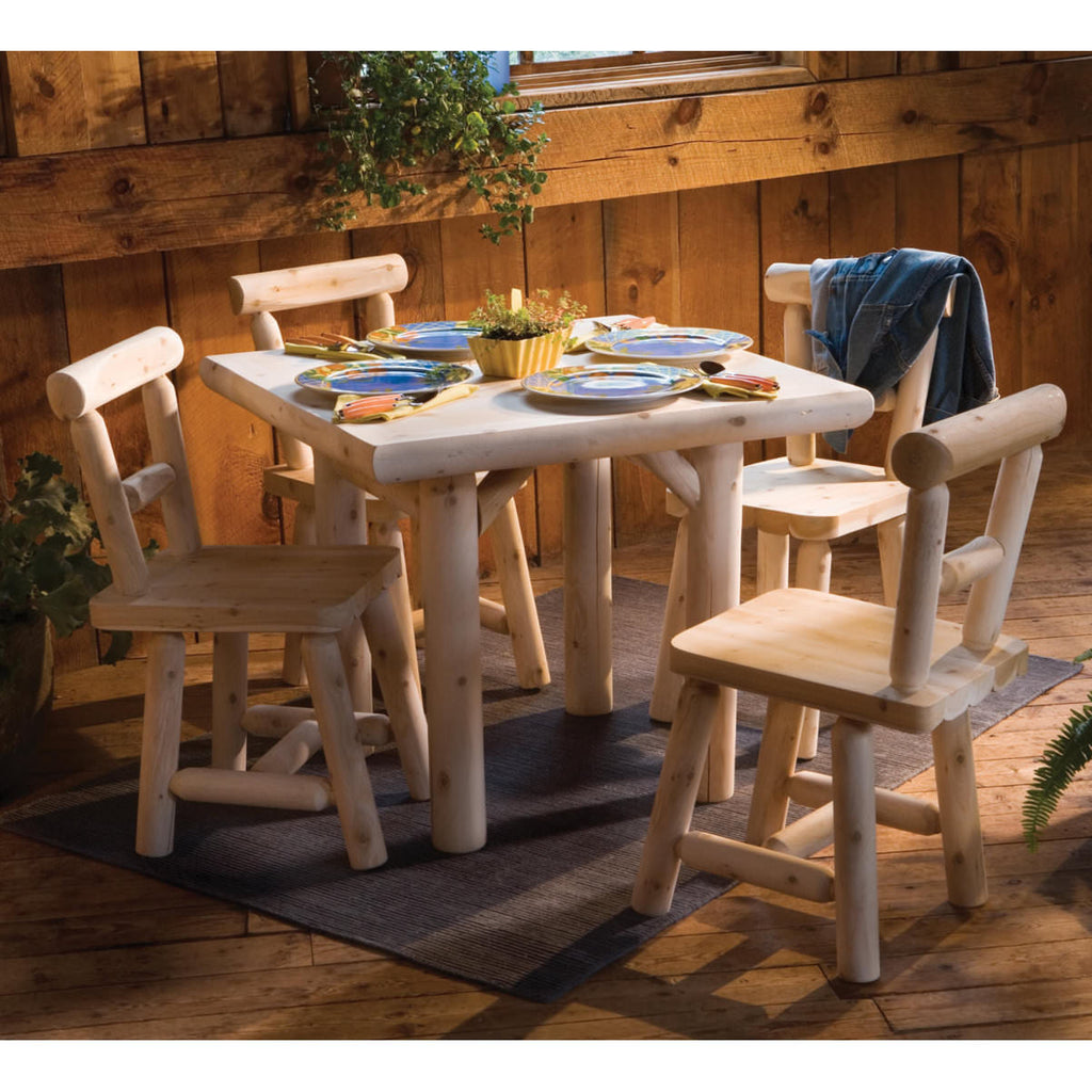 White Cedar Solid Top Log Dining Table Set