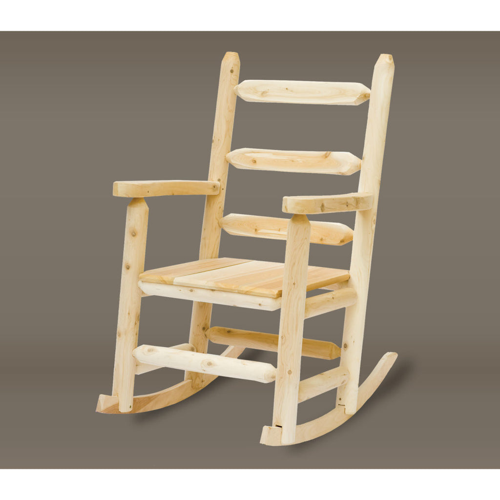 White Cedar Ladder Back Log Porch Rocker