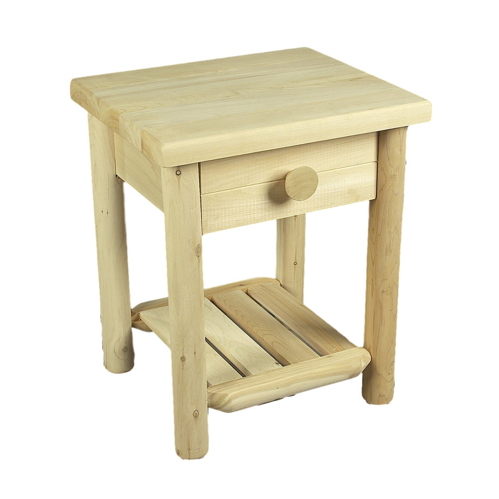 White Cedar Side Table with Drawer