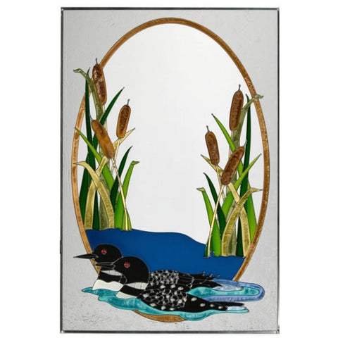 Swimming Loons Stained Glass Panel