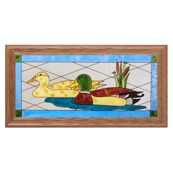Mallard Pair Stained Glass Framed Panel
