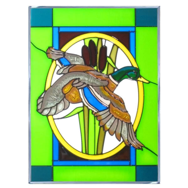 "Mallard Stained Glass Panel 10.25"" x 14"""