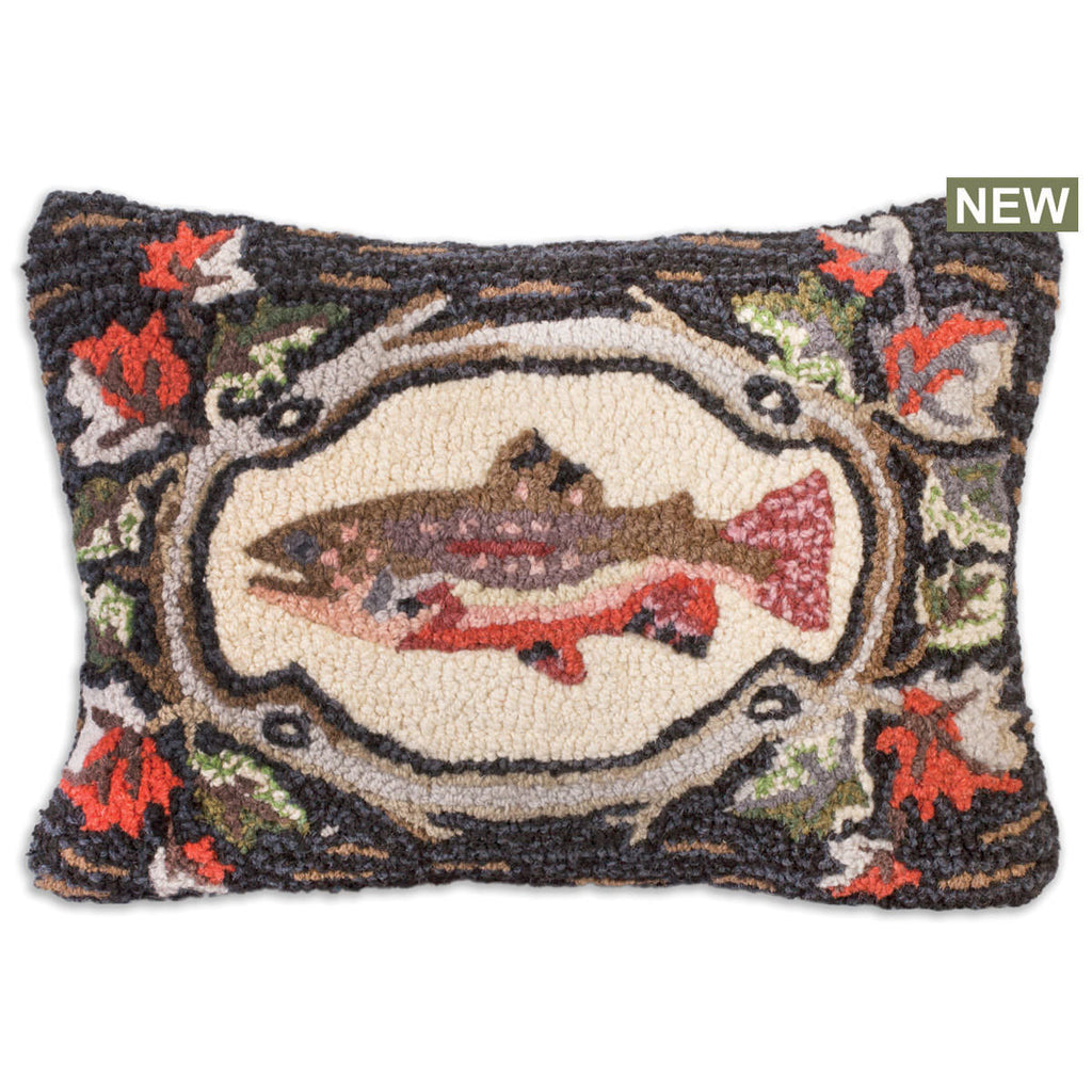 "Maple Trout Hooked Wool Pillow 14"" x 20"""