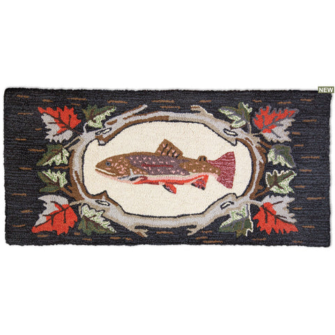 Maple Trout Hooked Wool Rug 2' x 4'