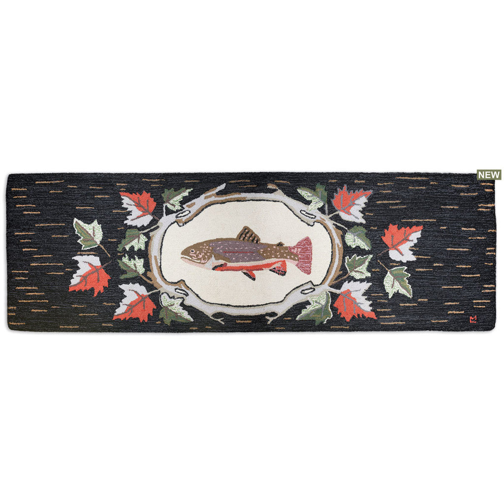 "Maple Trout Hooked Wool Runner 30"" x 8'"