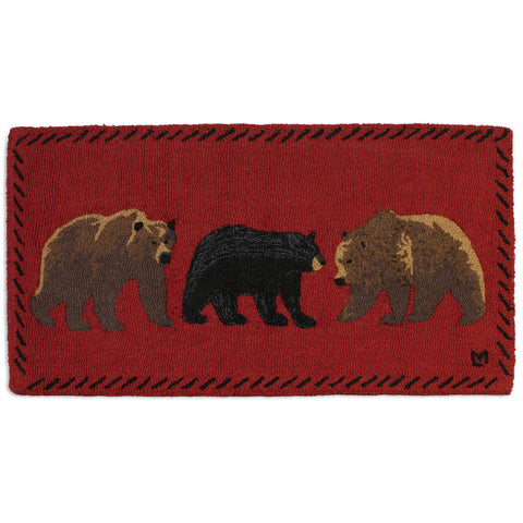 Mixed Bears Hooked Wool Rug 2' x 4'