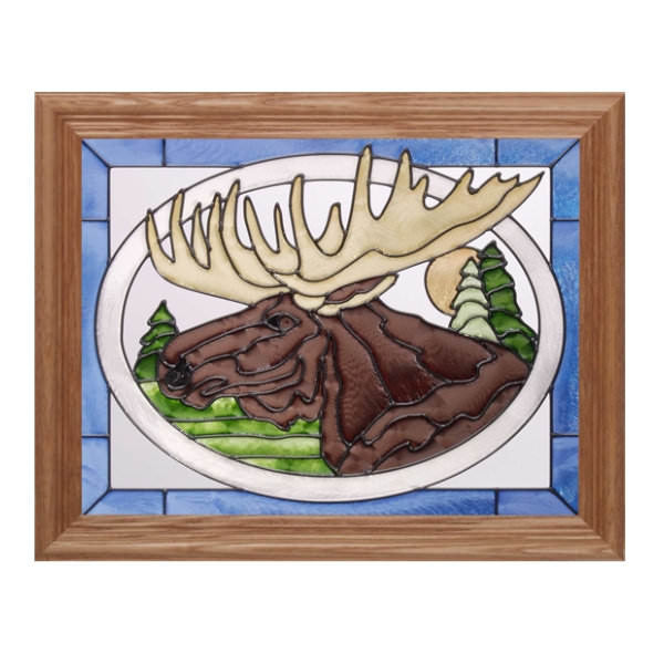 Moose Head Stained Glass Framed Panel
