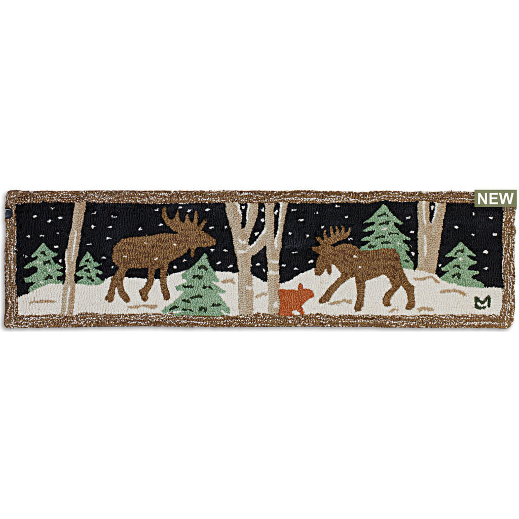 "Moose Mural Hearth Hooked Wool Rug 12"" x 48"""