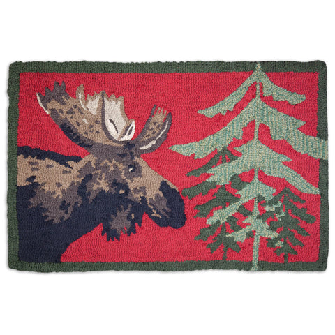Moose on Brilliant Red 2' x 3' Hooked Wool Rug