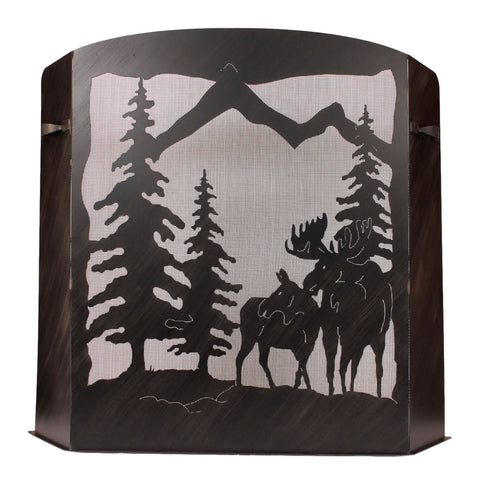 Moose Scene Fireplace Screen