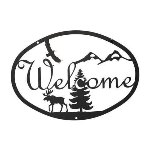 Wrought Iron Moose Scene Welcome Sign