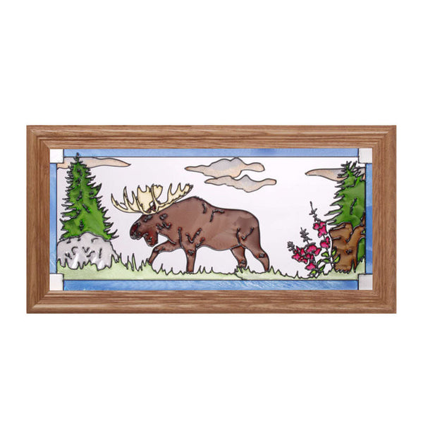 Moose Stained Glass Framed Panel