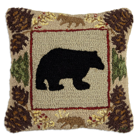Northwoods Bear Hooked Wool Pillow 18""