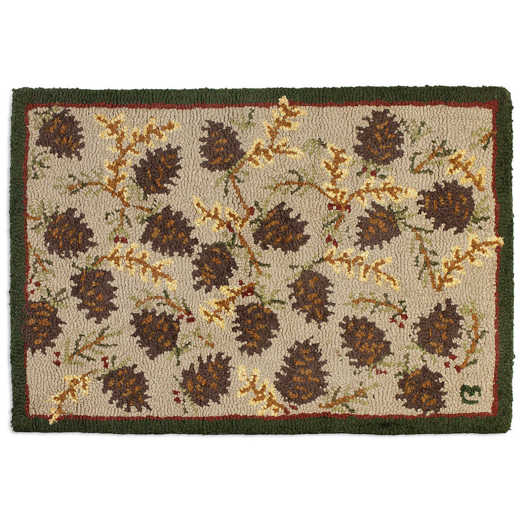 Northwood Cones 2' x 3' Hooked Wool Rug