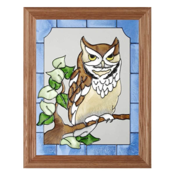 Owl Stained Glass Framed Panel