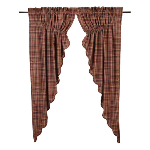 "Parker Prairie Scalloped Curtain Lined Set of Two 63""L x 36""W x 18"" Center Drop"
