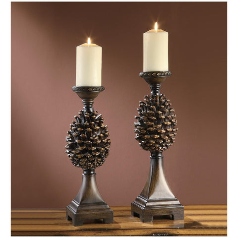 Pine Bluff Resin Candle Holder Set of 2