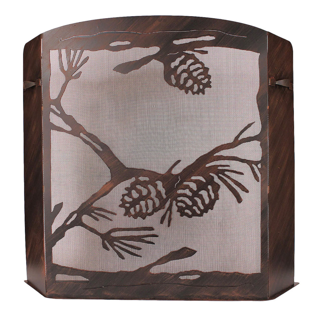 Pine Cone Scene Fireplace Screen