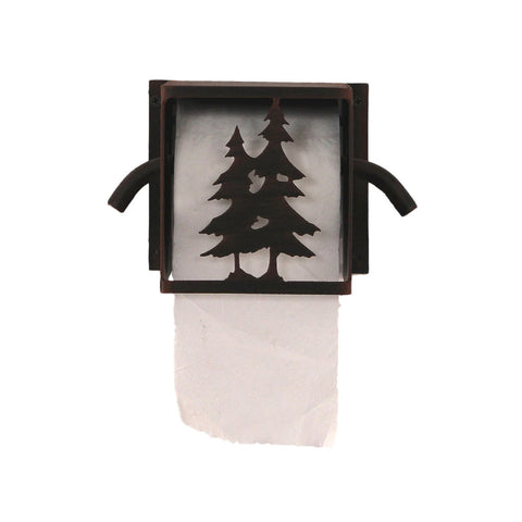 Iron Pine Tree Box Toilet Paper Holder