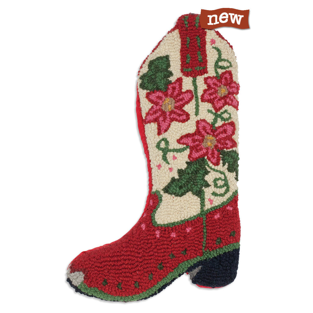 Poinsettia Cowboy Boot Hooked Wool Christmas Stocking