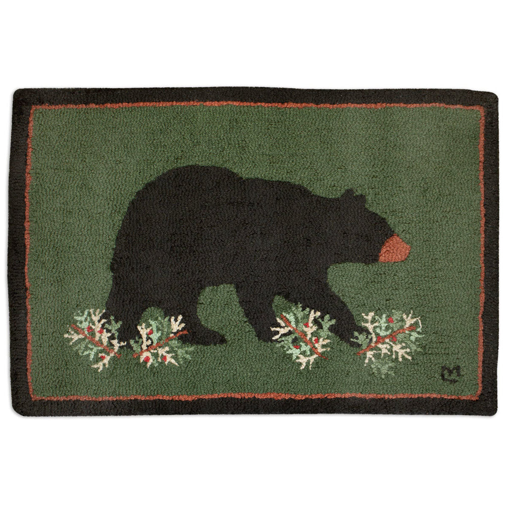 Prowling Bear 2' x 3' Hooked Wool Rug
