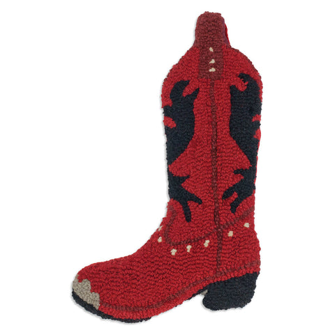 Red Cowboy Boot Hooked Wool Christmas Stocking