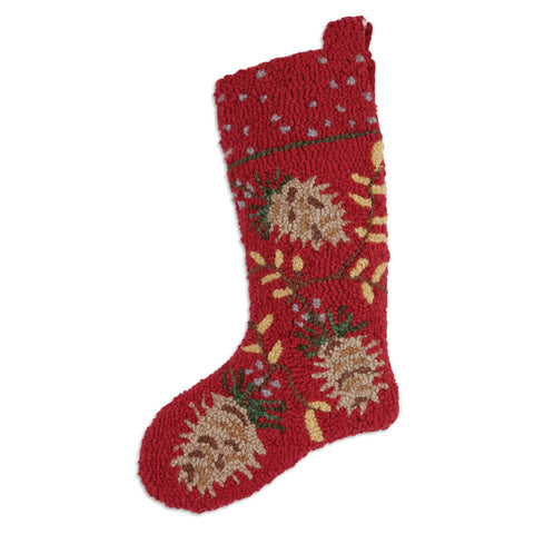 Red Pinecone Christmas Stocking