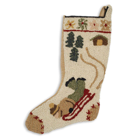 Red Sled Hooked Wool Christmas Stocking