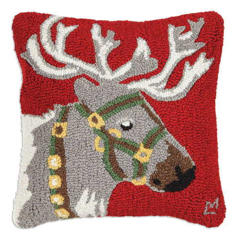 Reindeer Halter Green Pillow 18""