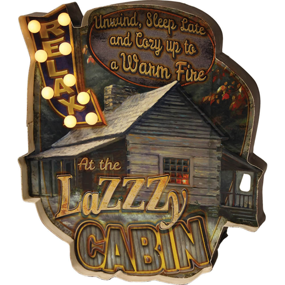 Relax Cabin LED Metal Sign