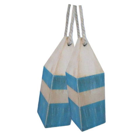 "Rustic Wooden Light Blue Squared Decorative Buoy Pair 8""H"