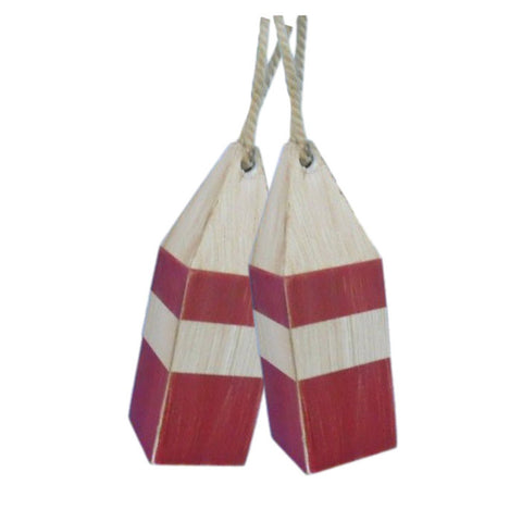 "Rustic Wooden Red Squared Decorative Buoy Pair 8""H"