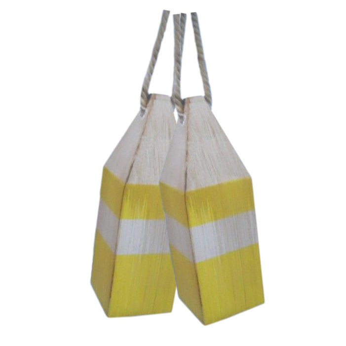 "Rustic Wooden Yellow Squared Decorative Buoy Pair 8""H"
