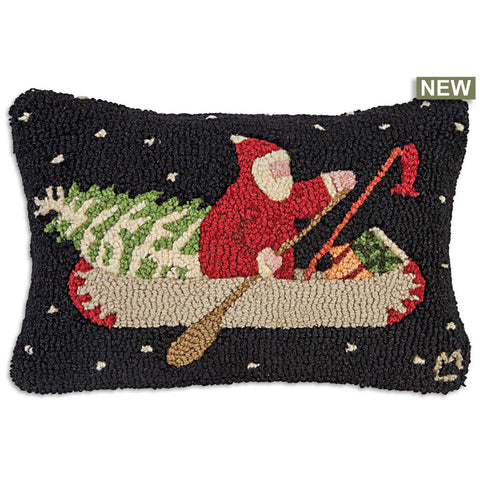 Santa's Last Delivery Hooked Wool Pillow 20 x 14