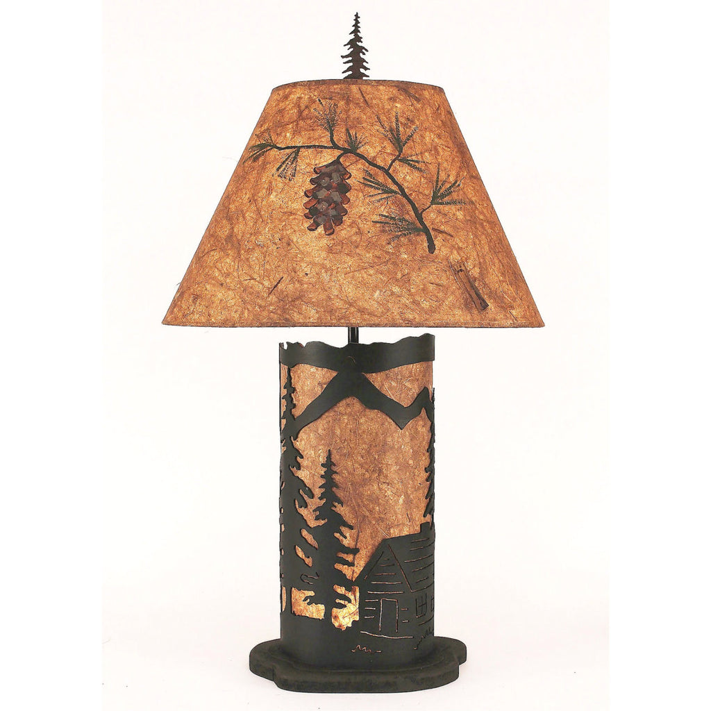 Small Cabin Scene Table Lamp with Night Light